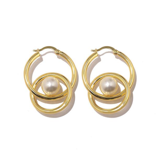 Einfache und exquisite Walking Show Größe glatte Perle Doppelring Ohrringe