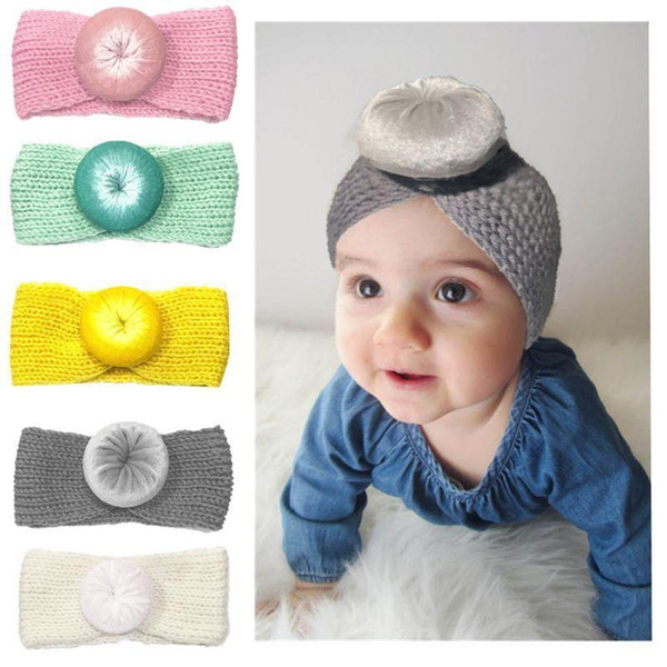 Baby Knit Crochet Top Knot Elastic Turban Headband Girls Head Wrap Ears Warmer soft ball Bohemia hair accessories MMA1305