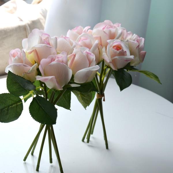 6 rosas por ramo artificial toque real floral arreglo floral de la boda decoración del hogar blanco rosado amarillo púrpura naranja C18112601