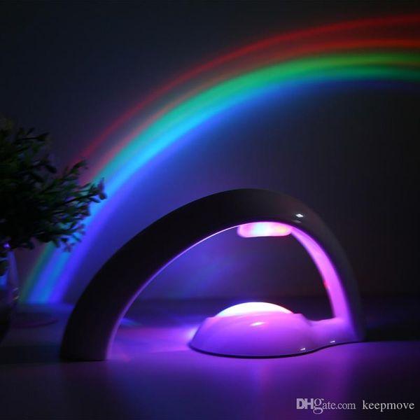Novelty LED Colorful Rainbow Night Light Romantic Sky Rainbow Projector Lamp luminaria Home bedroom light Birthday Valentine's day Gift