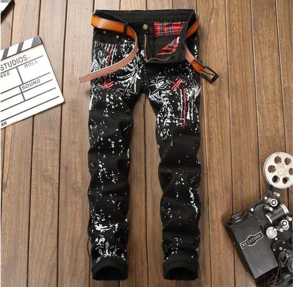 New printing Pants mens jeans Slim fit Korean calca jeans masculino Flower pants Europe fashion black Casual trousers men