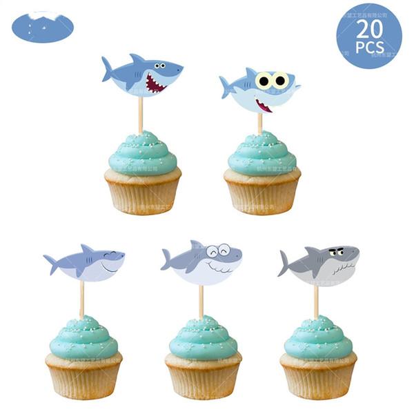 bébés Shark Cartoon Belle baleine forme de gâteau de fête d'anniversaire Shark garçons Décoration Fournitures Idées de cadeaux pour les enfants