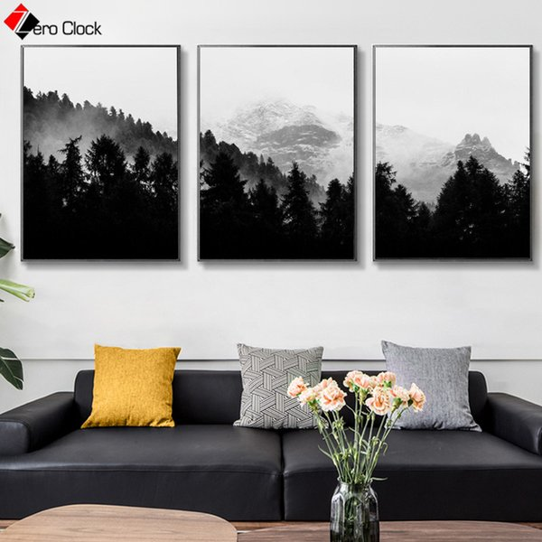 Landscape Canvas Painting Mountain Forest Print Wilderness Nature Poster Black and White Wall Art Wall Pictures for Living Room
