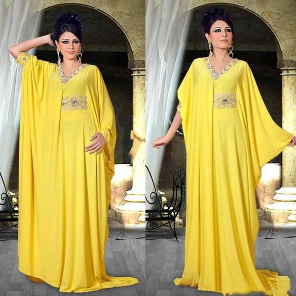 Kaftan Robe Abaya Dubai Vestidos de Noite Mangas Compridas Árabe Do Oriente Médio Estilo Frisada Desgaste Do Partido Formal Árabe Vestidos de Baile