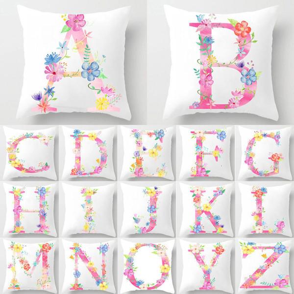 Flower Letter Decorative Cushion Cover Pillow Pillowcase Polyester 45*45 Throw Pillows Home Decor Pillowcover 40842
