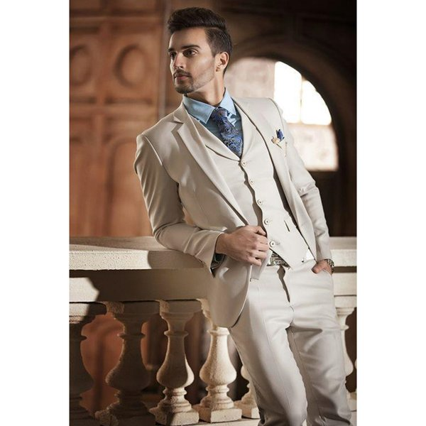 Hot Sale Beige Two Buttons Notch Lapel Men Suits Slim Fit Costume Wedding Dress Groom Tuxedos Prom Suits Jacket+Pant+Vest