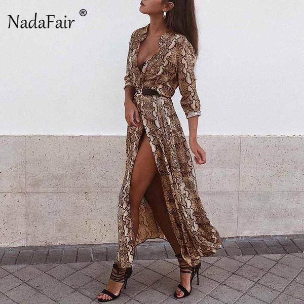 Nadafair Midi Snake Print Dress Women Vestidos Buttons Cut Split Sexy Chiffon Summer Dress Animal Print Vintage Long Dress Y19050805