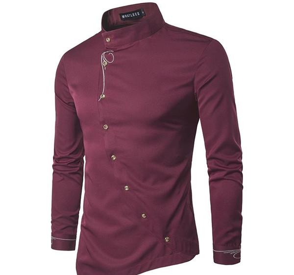 Designer Mens Vintage Robe chemise à manches longues Oblique Bouton Chemises col mao hommes Tuxedo Shirts