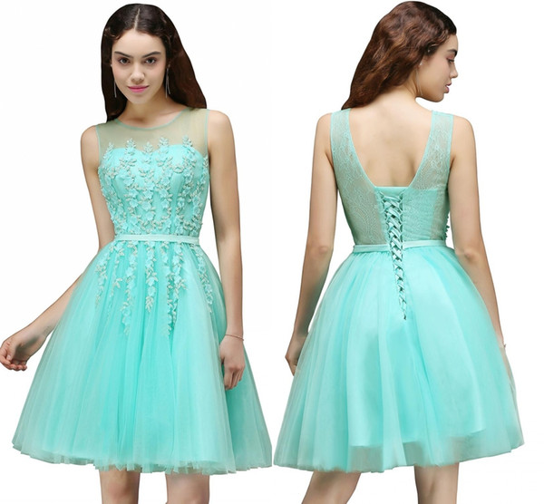 Mint Green Tulle Short Prom Homecoming Dresses Sheer Jewel Neck A Line Knee Length Cocktail Dresses With Lace-up Back Prom Dresses DH207