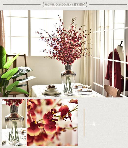 8 Tenedor Orquídea Flor Falsa Decoración Del Hogar Flores Artificiales Suave Flor Decorativa Banquete de Boda Foto Prop Hermosa Decoración