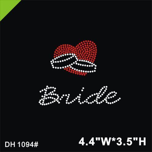 Free shipping Bride Mega Bling Rhinestone Iron On Heat Transfer iron on crystal transfers design transfer on design hot fix rhin DIY DH1094#