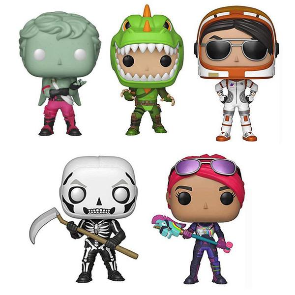 Figura de acción de Newbrand Funko Pop Juegos de Fortnite cráneo Trooper vinilo con la caja de juguete de regalo de envío libre de juguete modelo de pvc 5 estilos