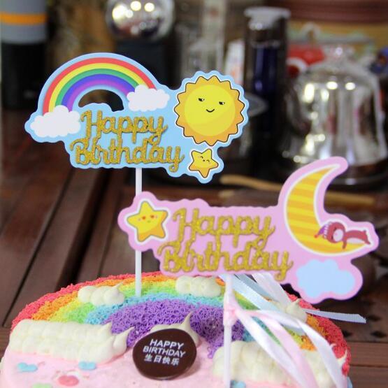 1pc Creativo decorazione della torta di compleanno Torta inserita carta bandiera Happy Birthday Party Supplies