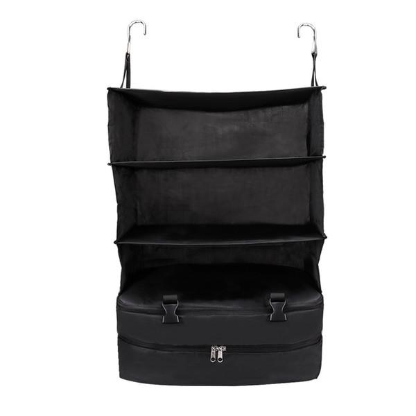 3 capas portátil bolsa de almacenamiento de viaje gancho colgando de nylon bolsa de malla organizador armario ropa zapatos almacenamiento
