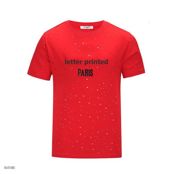 Mens Verão Designer Marca Tops Mens Camisa de Marca Homens e Mulheres de Manga Curta Top Tees Pequeno Buraco Camisa Carta Impresso Tops Tees