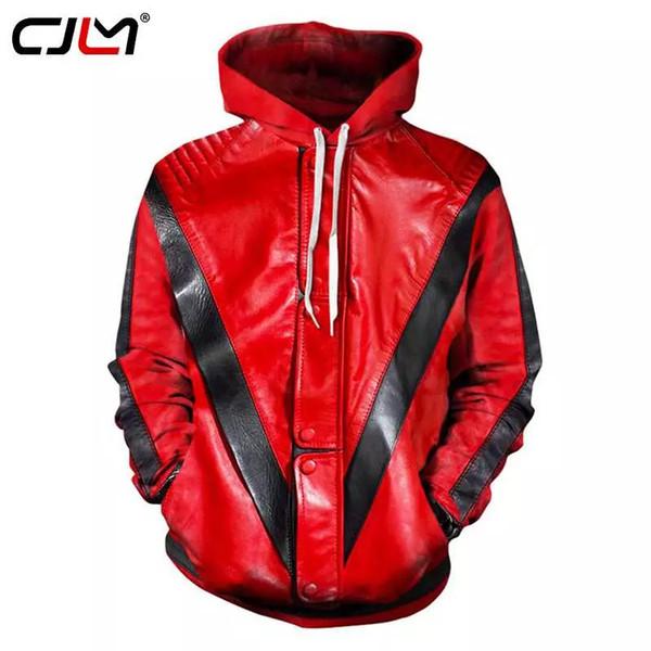 CJLM Hoodies Erkekler MJ Michael Jackson Gerilim Ceket Kırmızı Uzun Hoodie Kazak 3d Baskı Moda Streetwear Kapşonlu Sweatshirt 6XL