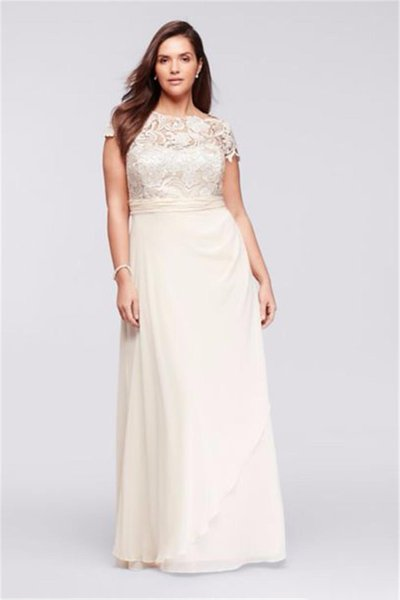Cap Sleeve Lace Long Plus Size Chiffon Dress Champagne Sexy Mother of the Bridal Dres Wedding Party Dress Formal Dresses