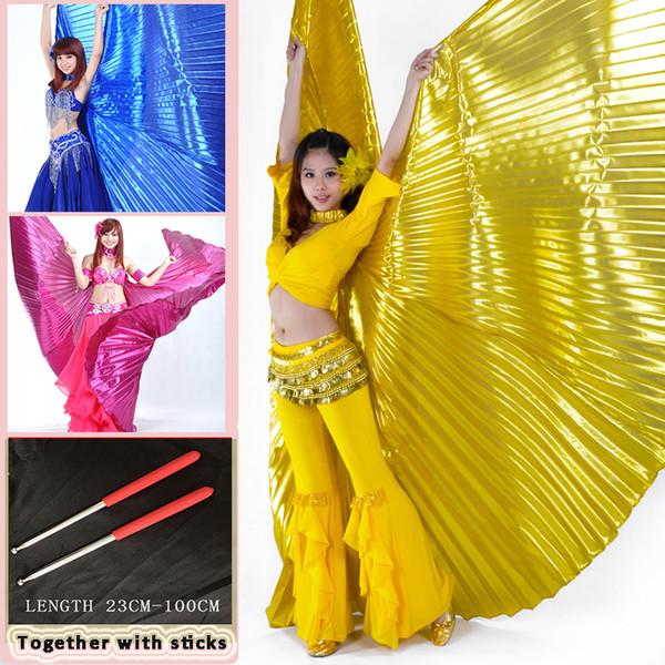 Traje De Dança Do Ventre 360 Borboleta Isis Asas Gradiente Colorido Desempenho De Palco Adere Asas De Borboleta Com Varas