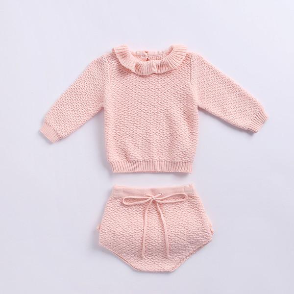 Nouveau printemps et automne nouveaux styles Bébé enfants mignons couleur soild manches longues Ruffles Collar Knitting Shirt + Short 2 sets Pull livraison gratuite