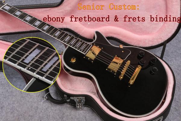 Senior Custom Shop Black Beauty Guitar with Guitar case 1958 VOS ebony fretboard frets binding Mahogany body Classic Chinese Electric Guitar