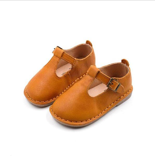 2019 spring and autumn new girls single shoes children retro t-shirt soft bottom leather shoes fashion wild elegant comfortable beautiful pr