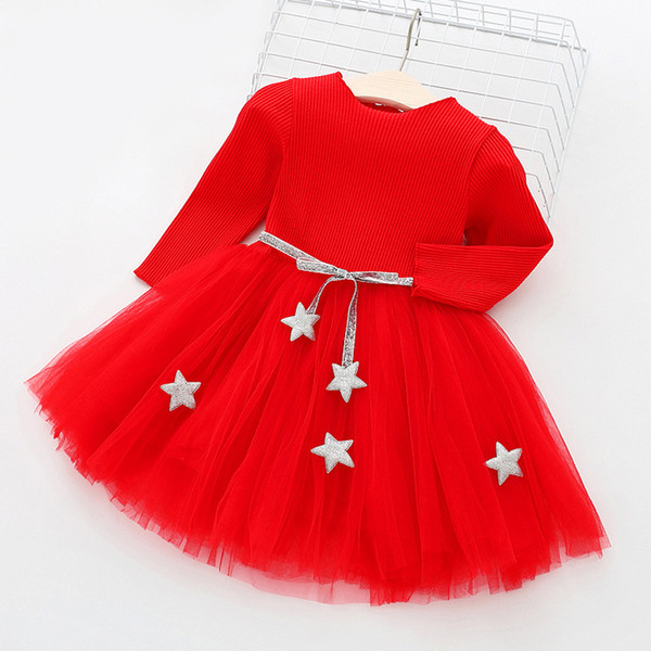 Long Sleeve Autumn Spring Sashes School Costume For Girls Children Red Casual Dress Kids Infant Vestidos 3-8 Years Party Wear