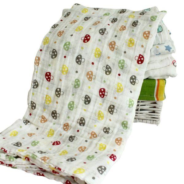 120x120cm 2 Layer Muslin Cartoon Baby Swaddles Soft Newborn Blankets Bath Gauze Towel Wrap Sleepsack Stroller Cover Play Mat