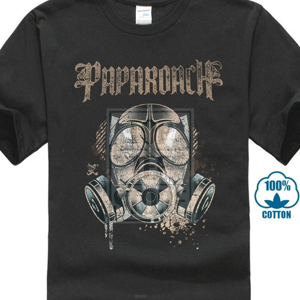 Official Papa Roach Gas Mask T Shirt Rock Band F E A R Jacoby Shaddix Infest Teenage Natural Cotton Blacked