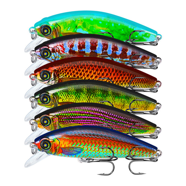 1 pz 6 colori 8 cm 10.5g pesciolino esche rigide in plastica esche ami da pesca ami da pesca 6 # gancio esca artificiale pesca attrezzatura da pesca accessori