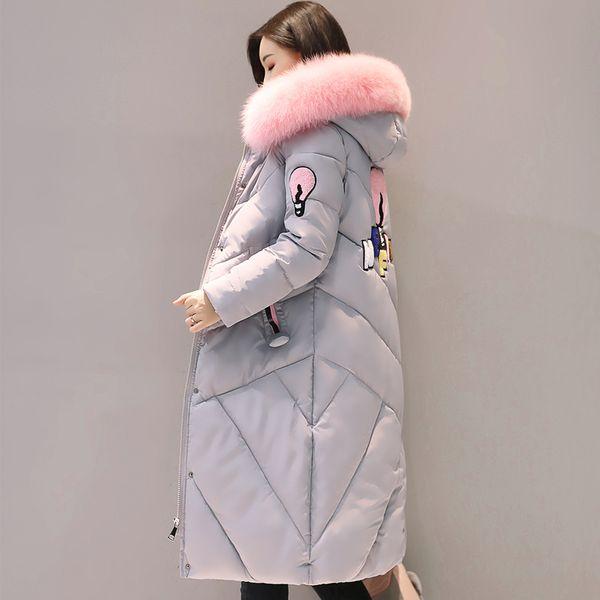 2019 fur collar women long winter coat female warm wadded jacket womens outerwear parka casaco feminino inverno