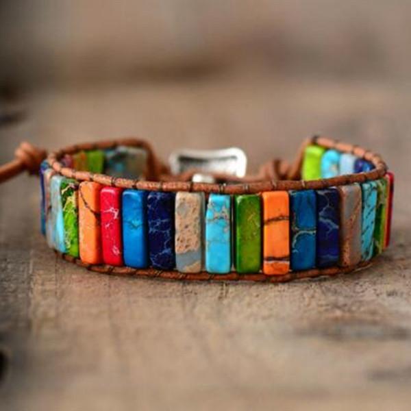 Chakra Pulseira Jóias Feitas À Mão Multi Color Pedra Natural Tubo Beads Leather Wrap Pulseira Casais Pulseiras Presentes Criativos