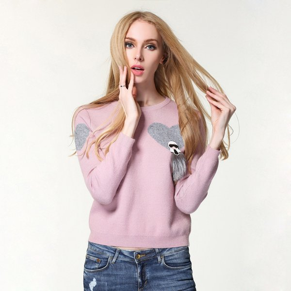 Pop2019 Fund Head Sweater Woman Rendering Unlined Upper Garment Pullover Long Sleeve Knitting Sweater. Hollow Out Suit-dress