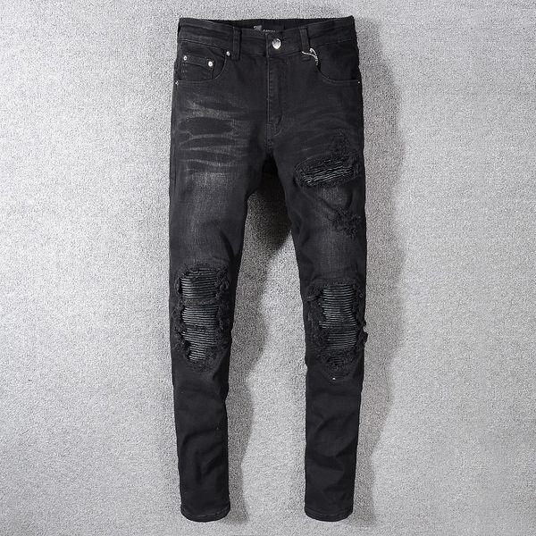 Retro Men's Brand Designer Jeans Knee wear denim Slim elasticity Pants Causal patch Pants Hip Hop Men Jeans Black #575 Free Shipping