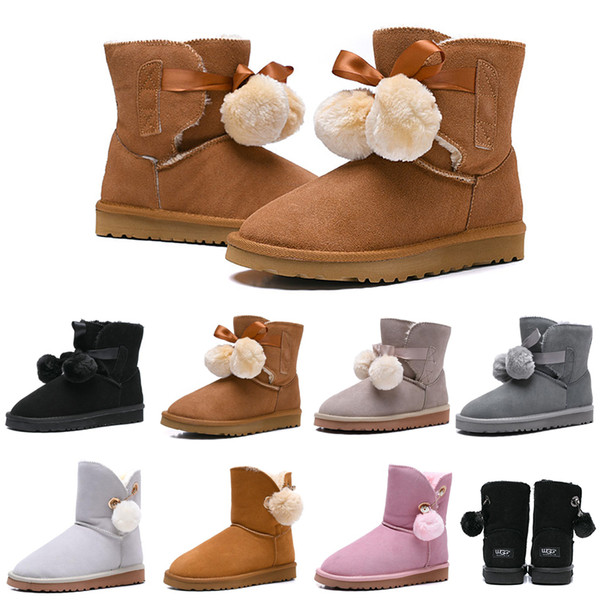 UGG Stivaletti da donna firmati Australia Classic Bailey Hairball Bow Tie Snow Booties Caviglia Knee Girls Moda invernale da donna Boot Drop Shipping