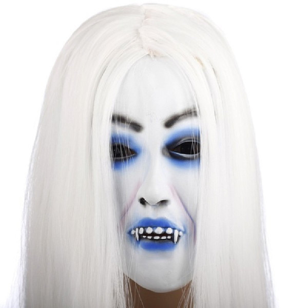 Yeduo Horrible Toothy White Long Hair Ghost Face Latex Soft Mask Halloween Party Prop Costume Mus