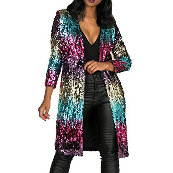Feitong Ladies Paillettes Sparkly Cardigan Coat Manica lunga Party Show Long Style Women Coat Primavera Trench Clothes Autumn Jaqueta