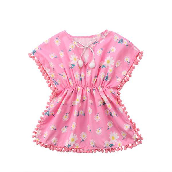 Rosa Amarillo Niños Bebés Niñas Vestido Playa Sundress Flor suelta Flecos Bolas Vestidos Bikini Cover-Ups Traje de baño Traje de baño