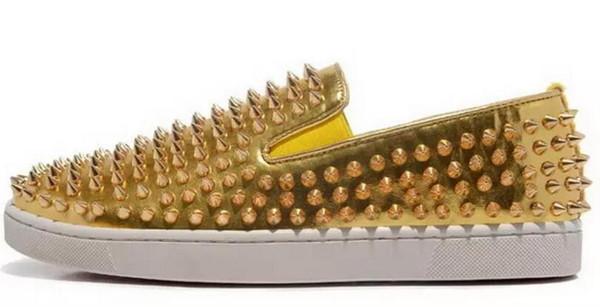 Дизайнерские кроссовки с низким вырезом Spikes Flats shoes Red Bottom Для мужчин и женщин Кожаные кроссовки Party Дизайнерские туфли 36-47
