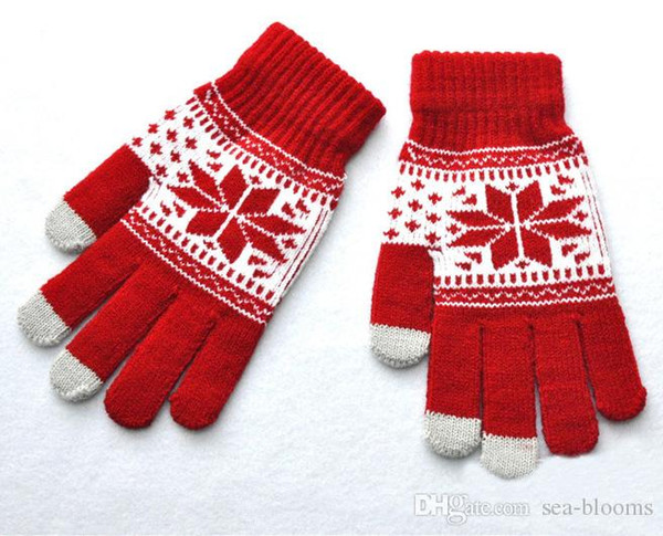Unisex Winter Warm Knitted Jacquard Snowflake Maple Leaf Pattern Touch Screen Gloves Full Finger Mittens 9 Styles Simple Gift H919Q