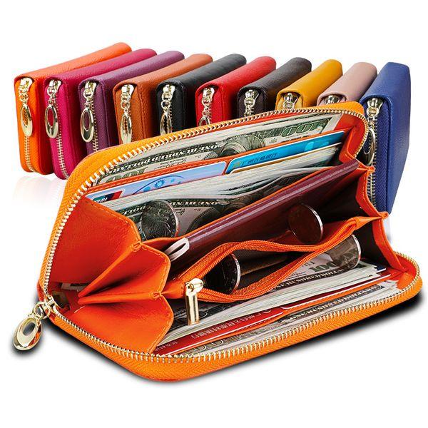 Genuine Leather Women Wallets Long Purse Female Clutch Bag Women's Wallet Card Holder Phone Pocket Passport Holder GLWW06