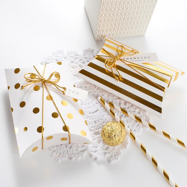 Großhandel 10 Stücke Streifen Dot Goldene Kissen Süßigkeiten Geschenkbox Verpackung Papier Hochzeit Karton Dragee Cookie Taschen Geschenk Taschen
