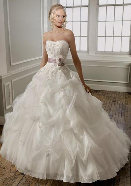 2019 New Above hot body purple applique beading belt takes the skirt is organza bag high-grade Ball Gown wedding dresses vestido de novia