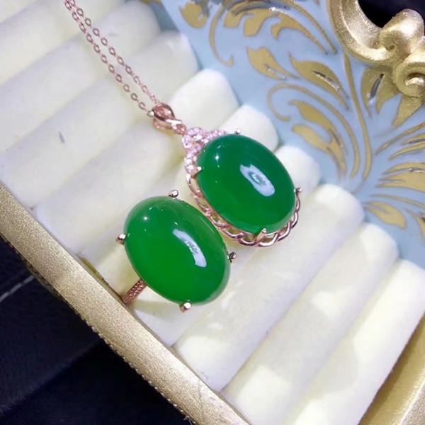 SHILOVEM 925 argento reale naturale verde calcedonio ciondoli anelli inviare collana classico matrimonio Belle regalo lptz13181520agby