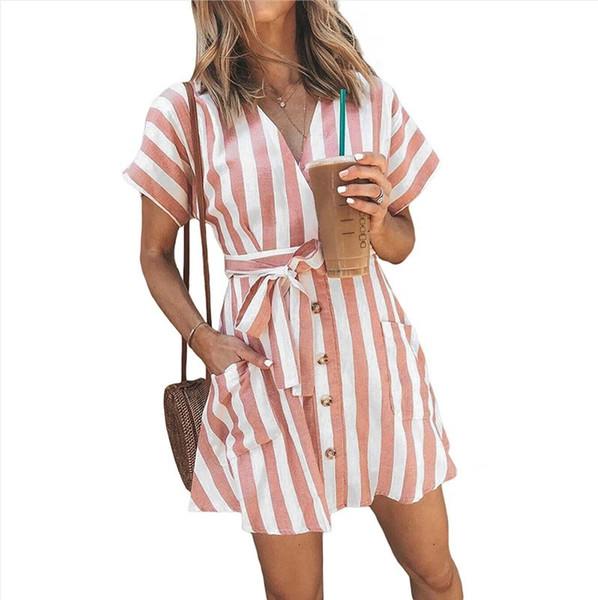 2019 New Summer Fashion Pink black Blue V-neck Open-chest vertical Stripe Waist collection Nail-fastened Short-sleeved Women Dresses
