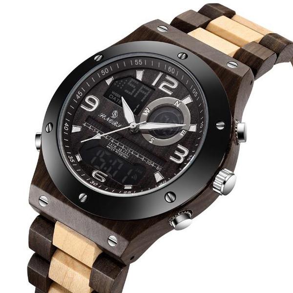 2018 new SN153 LCD dual display watch sandalwood watch male bamboo watch quartz movement wood watchband