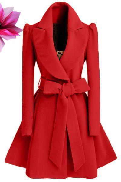 Batwing Woolen Winter Coats Elegant Wool Coat And Jacket Sashes Ladies Coats