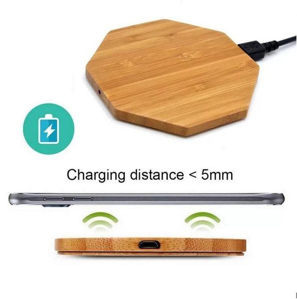Tampon iPhone 8/8 Plus X Not Şarj ABD Ahşap Bambu Kablosuz Şarj Masaüstü