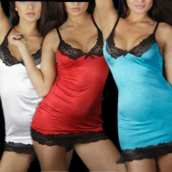 Femme Érotique Porno Femmes Col En V Sexy Dentelle Robe De Lingerie Robe De Nuit Babydoll Vêtements De Nuit G-strings Chemise De Nuit Nuisette Costumes Fema