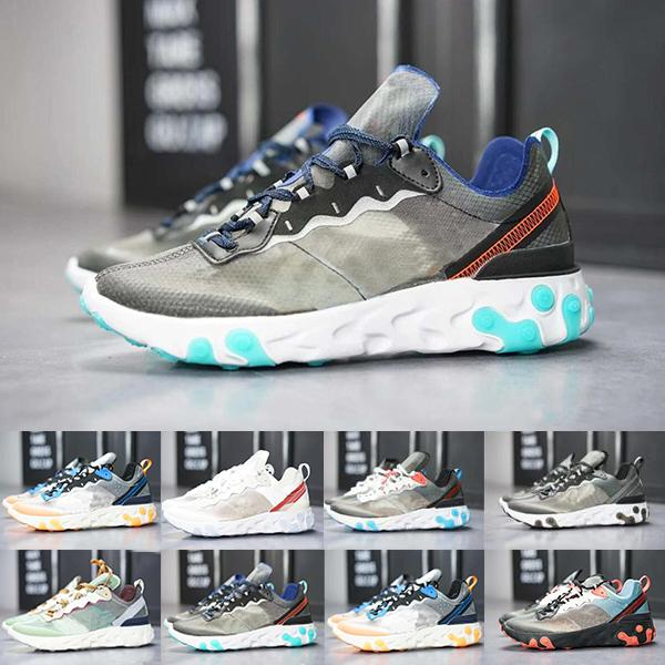 React Element Undercover Men Running Shoes For Women Designers Sneakers Sports Mens Trainer Shoes Sail Light Bone Royal Tint DN66