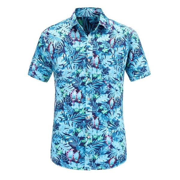Dioufond Hombres de manga corta hawaiana camisa ocasional para hombre patrón de verano flamencos algodón camisas de vestir para hombre más c19040302
